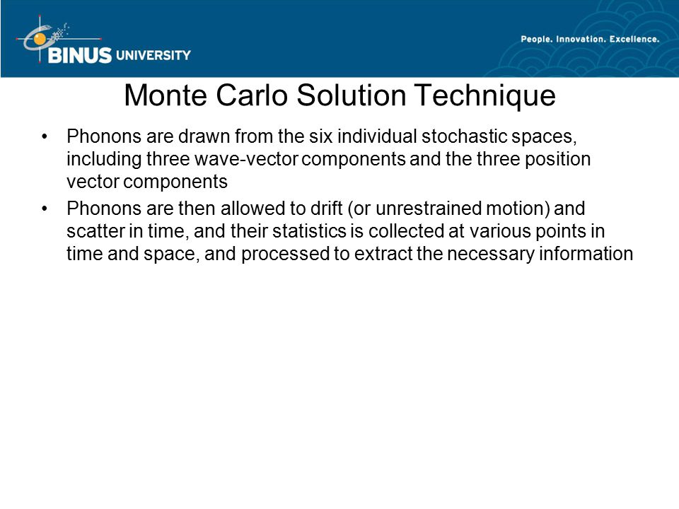 Monte Carlo Solution Technique Phonons are drawn from the six individual stochastic spaces, including three wave-vector components and the three posit