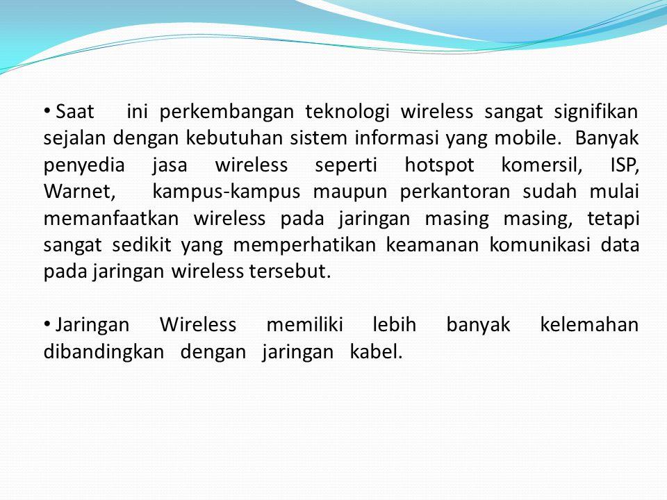 Saat ini perkembangan teknologi wireless sangat signifikan sejalan dengan kebutuhan sistem informasi yang mobile.