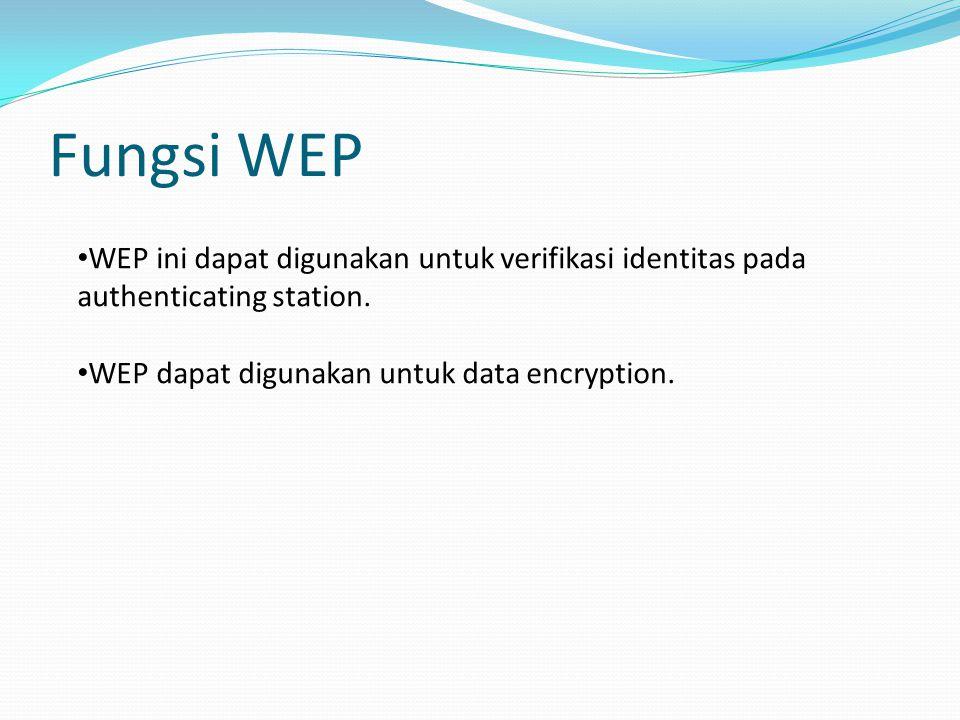 Fungsi WEP WEP ini dapat digunakan untuk verifikasi identitas pada authenticating station.