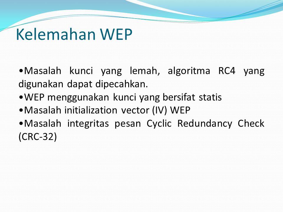 Kelemahan WEP Masalah kunci yang lemah, algoritma RC4 yang digunakan dapat dipecahkan.
