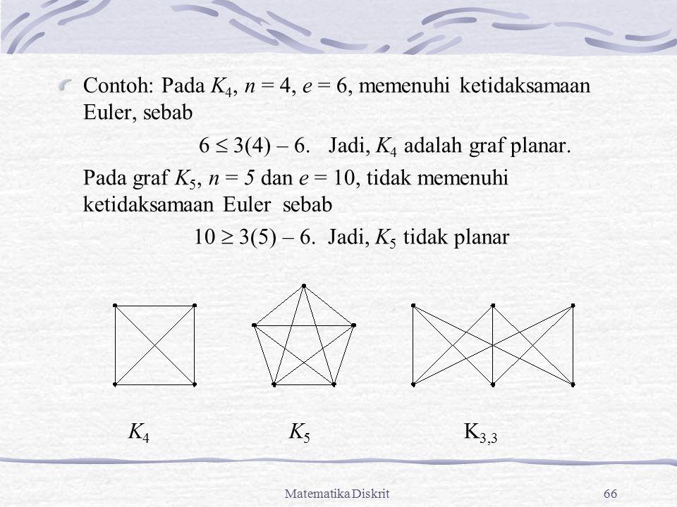 Matematika Diskrit66 Contoh: Pada K 4, n = 4, e = 6, memenuhi ketidaksamaan Euler, sebab 6  3(4) – 6. Jadi, K 4 adalah graf planar. Pada graf K 5, n
