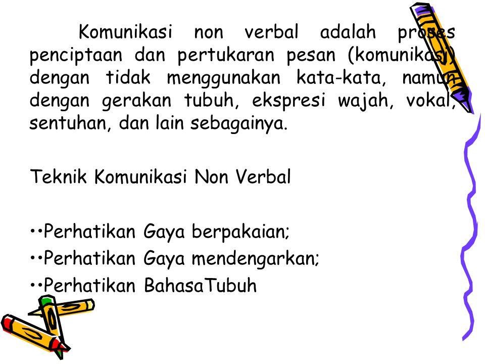 Verbal & Non Verbal Verbal Komunikasi verbal adalah komunikasi lisan atau tulisan dengan menggunakan kata-kata Non Verbal : 50% kesan pertama, diluar