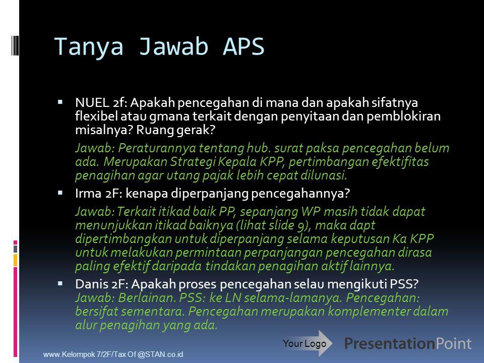 Tanya Jawab APS  NUEL 2f: Apakah pencegahan di mana dan apakah sifatnya flexibel atau gmana terkait dengan penyitaan dan pemblokiran misalnya? Ruang
