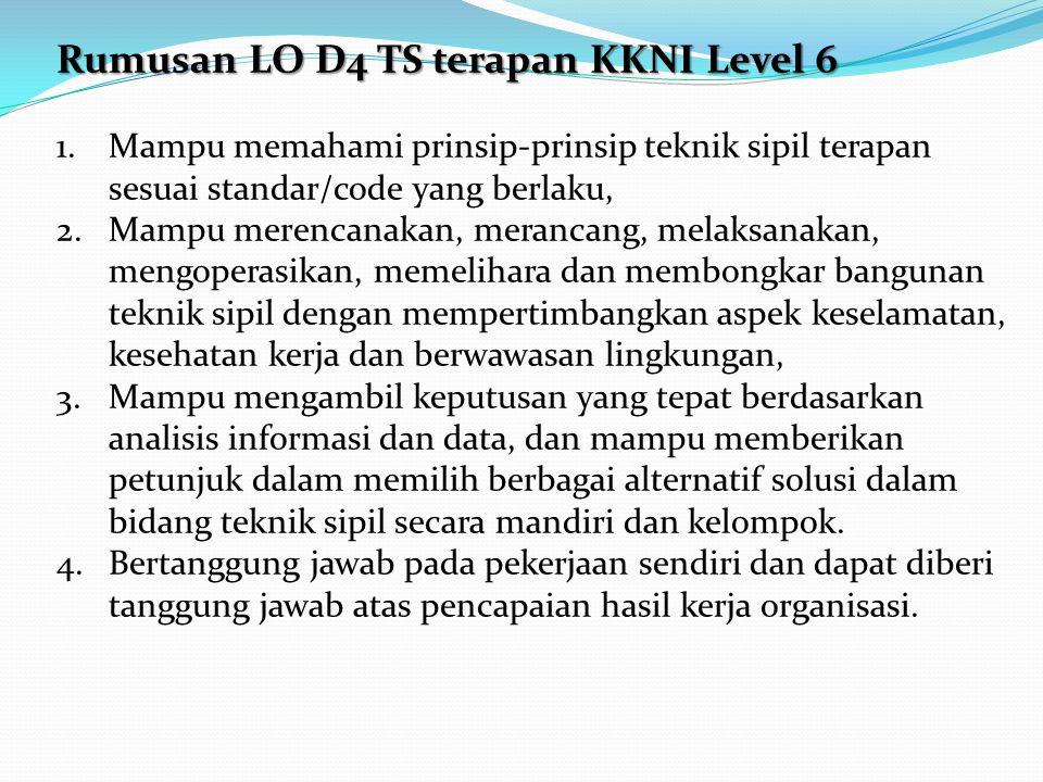 Rumusan LO D4 TS terapan KKNI Level 6 1.Mampu memahami prinsip-prinsip teknik sipil terapan sesuai standar/code yang berlaku, 2.Mampu merencanakan, me