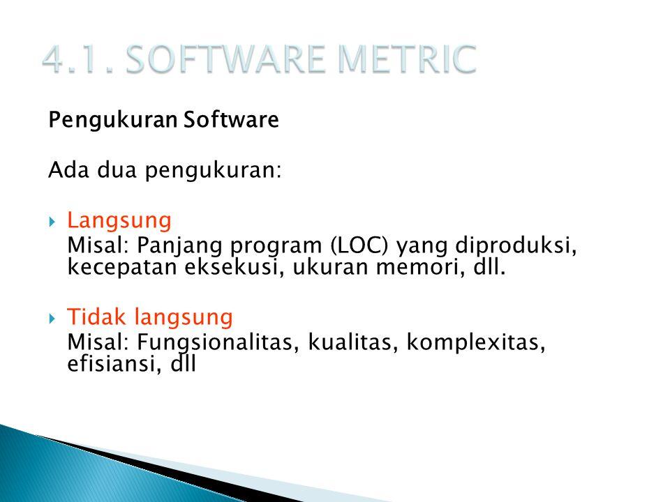 Pengukuran Software Ada dua pengukuran:  Langsung Misal: Panjang program (LOC) yang diproduksi, kecepatan eksekusi, ukuran memori, dll.  Tidak langs