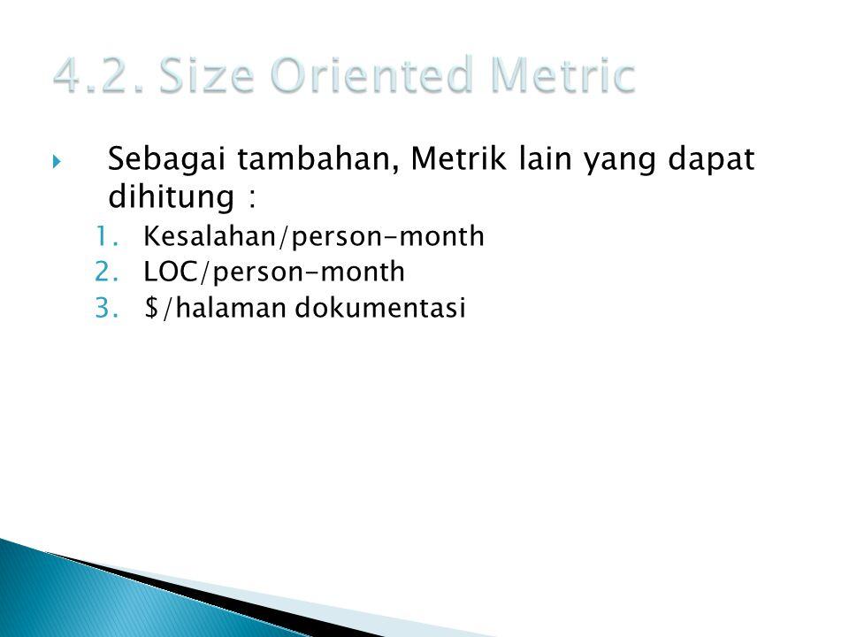  Sebagai tambahan, Metrik lain yang dapat dihitung : 1.Kesalahan/person-month 2.LOC/person-month 3.$/halaman dokumentasi