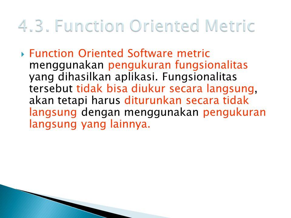  Function Oriented Software metric menggunakan pengukuran fungsionalitas yang dihasilkan aplikasi. Fungsionalitas tersebut tidak bisa diukur secara l