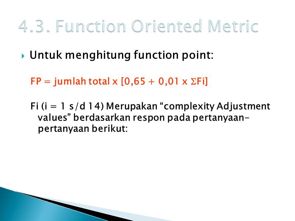 " Untuk menghitung function point: FP = jumlah total x [0,65 + 0,01 x  Fi] Fi (i = 1 s/d 14) Merupakan ""complexity Adjustment values"" berdasarkan res"
