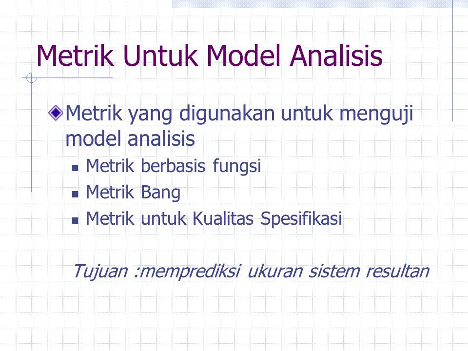 Metrik Untuk Model Analisis Metrik yang digunakan untuk menguji model analisis Metrik berbasis fungsi Metrik Bang Metrik untuk Kualitas Spesifikasi Tu