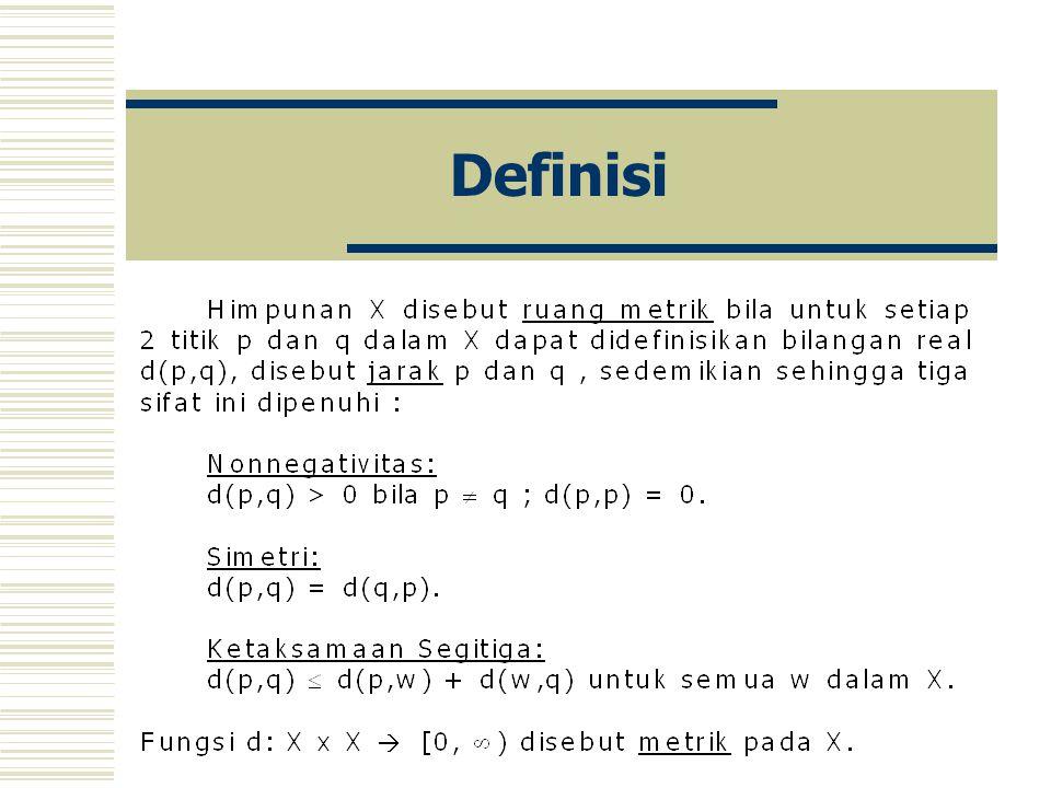 Contoh Pandang himpunan X dengan metrik diskrit.