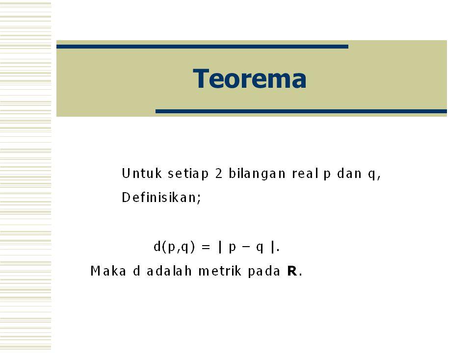 Definisi Diberikan ruang metrik X.
