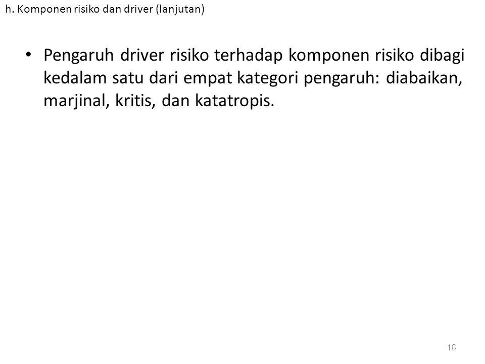 h. Komponen risiko dan driver (lanjutan) Pengaruh driver risiko terhadap komponen risiko dibagi kedalam satu dari empat kategori pengaruh: diabaikan,