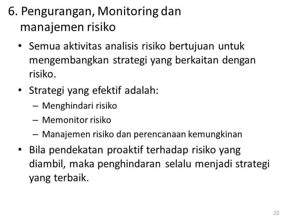6. Pengurangan, Monitoring dan manajemen risiko Semua aktivitas analisis risiko bertujuan untuk mengembangkan strategi yang berkaitan dengan risiko. S