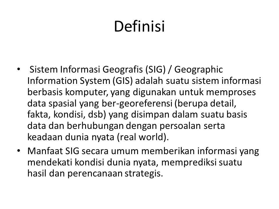 Definisi Sistem Informasi Geografis (SIG) / Geographic Information System (GIS) adalah suatu sistem informasi berbasis komputer, yang digunakan untuk