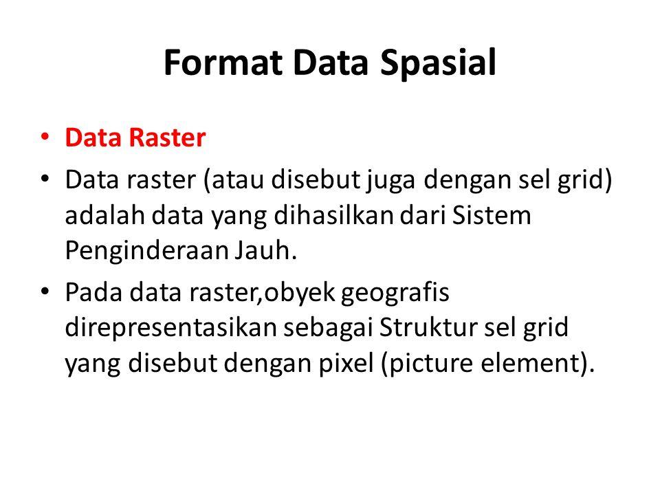 Format Data Spasial Data Raster Data raster (atau disebut juga dengan sel grid) adalah data yang dihasilkan dari Sistem Penginderaan Jauh. Pada data r