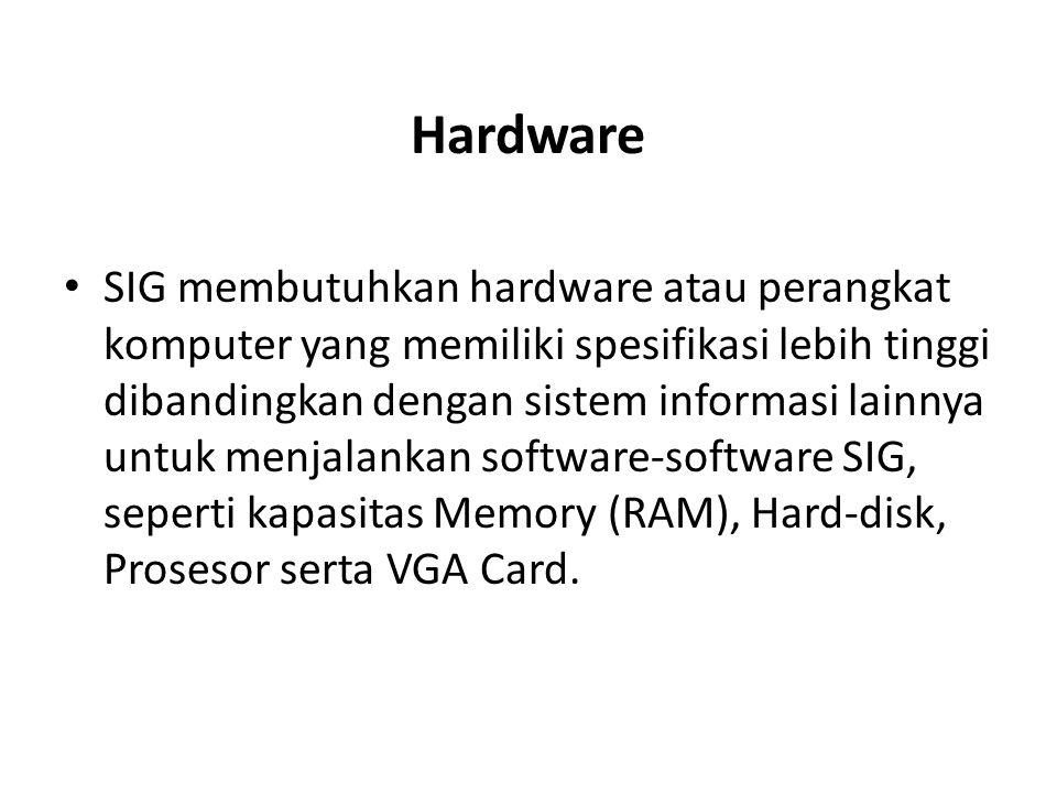 Hardware SIG membutuhkan hardware atau perangkat komputer yang memiliki spesifikasi lebih tinggi dibandingkan dengan sistem informasi lainnya untuk me