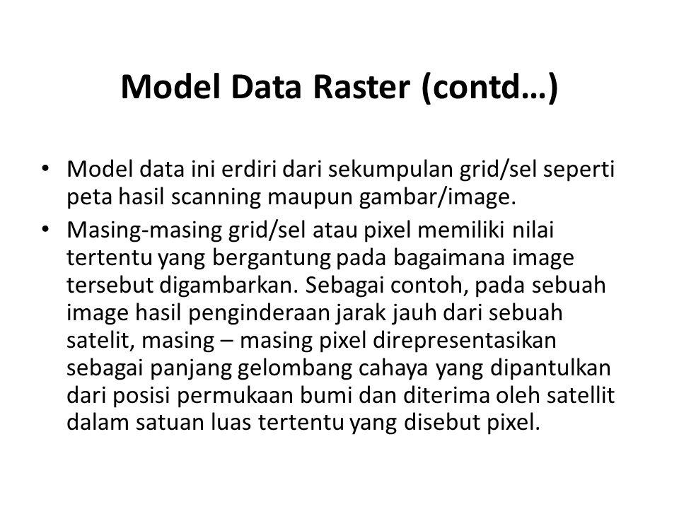 Model Data Raster (contd…) Model data ini erdiri dari sekumpulan grid/sel seperti peta hasil scanning maupun gambar/image. Masing-masing grid/sel atau