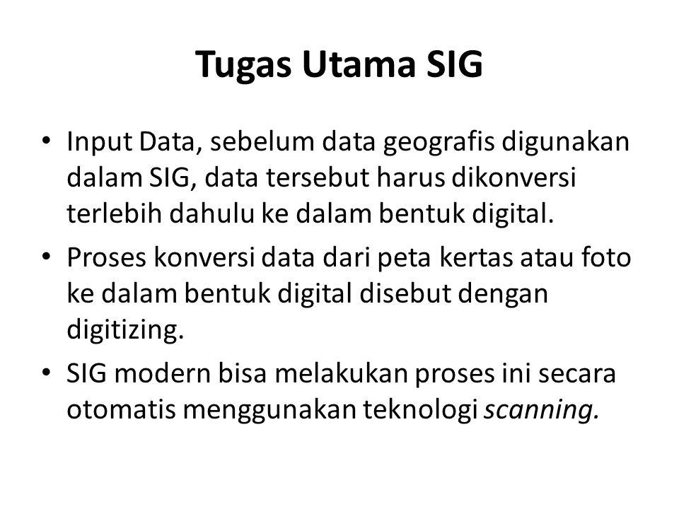 Tugas Utama SIG Input Data, sebelum data geografis digunakan dalam SIG, data tersebut harus dikonversi terlebih dahulu ke dalam bentuk digital. Proses