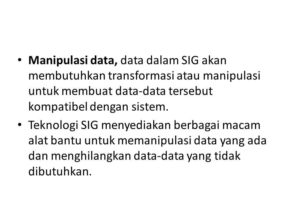 Manipulasi data, data dalam SIG akan membutuhkan transformasi atau manipulasi untuk membuat data-data tersebut kompatibel dengan sistem. Teknologi SIG