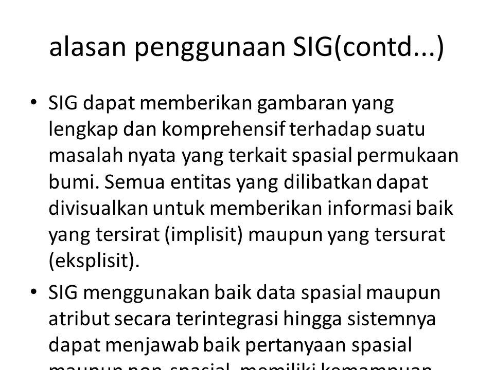 alasan penggunaan SIG(contd...) SIG dapat memberikan gambaran yang lengkap dan komprehensif terhadap suatu masalah nyata yang terkait spasial permukaa