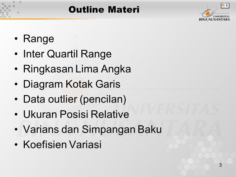 3 Outline Materi Range Inter Quartil Range Ringkasan Lima Angka Diagram Kotak Garis Data outlier (pencilan) Ukuran Posisi Relative Varians dan Simpangan Baku Koefisien Variasi
