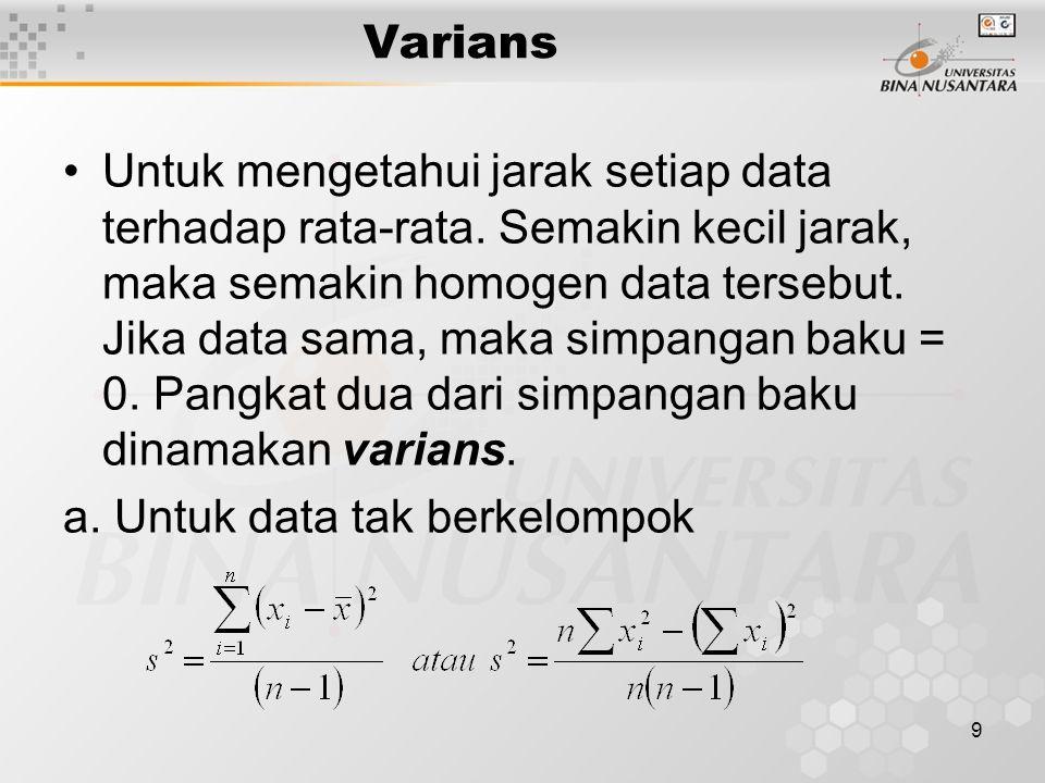 Varians Untuk mengetahui jarak setiap data terhadap rata-rata.