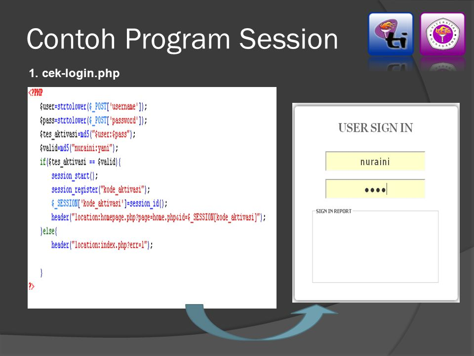 Contoh Program Session 1. cek-login.php