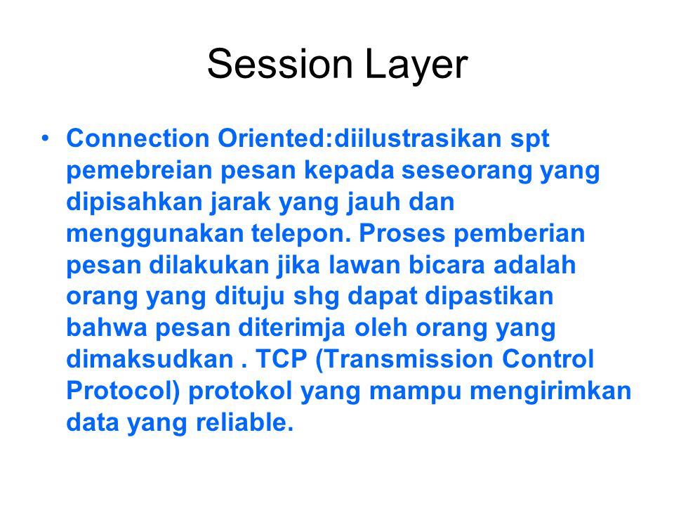 Session Layer Connection Oriented:diilustrasikan spt pemebreian pesan kepada seseorang yang dipisahkan jarak yang jauh dan menggunakan telepon. Proses