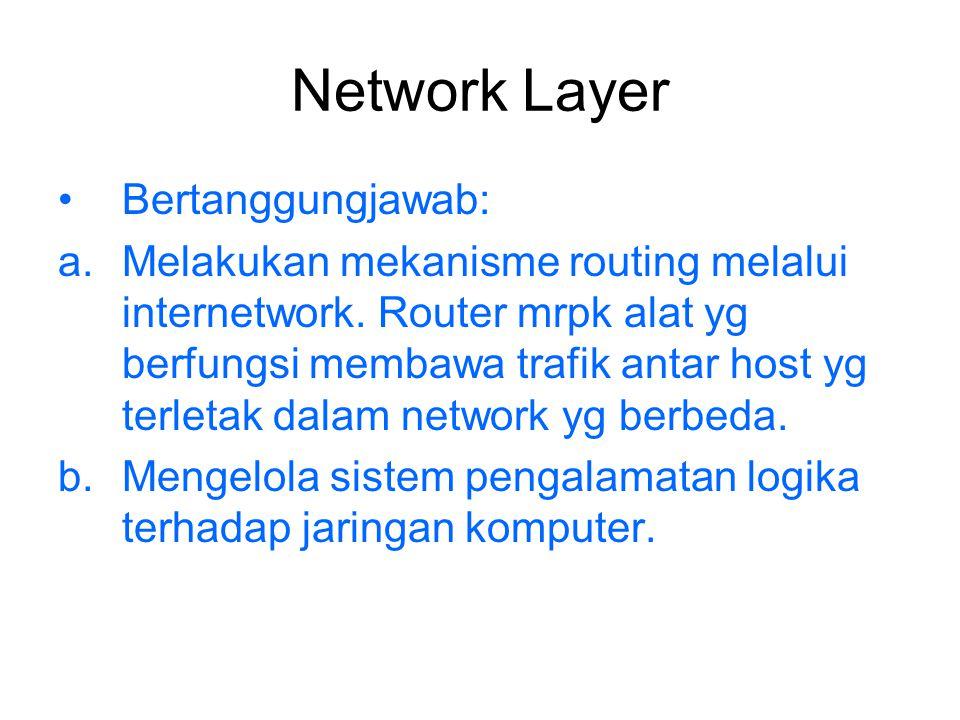 Network Layer Bertanggungjawab: a.Melakukan mekanisme routing melalui internetwork. Router mrpk alat yg berfungsi membawa trafik antar host yg terleta