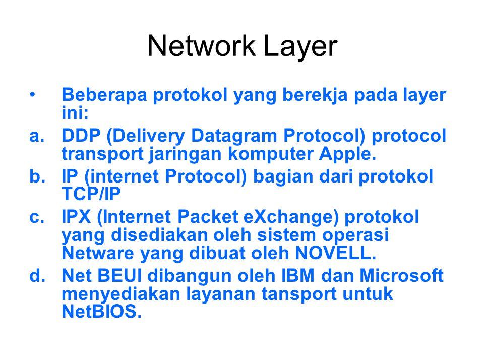 Network Layer Beberapa protokol yang berekja pada layer ini: a.DDP (Delivery Datagram Protocol) protocol transport jaringan komputer Apple. b.IP (inte