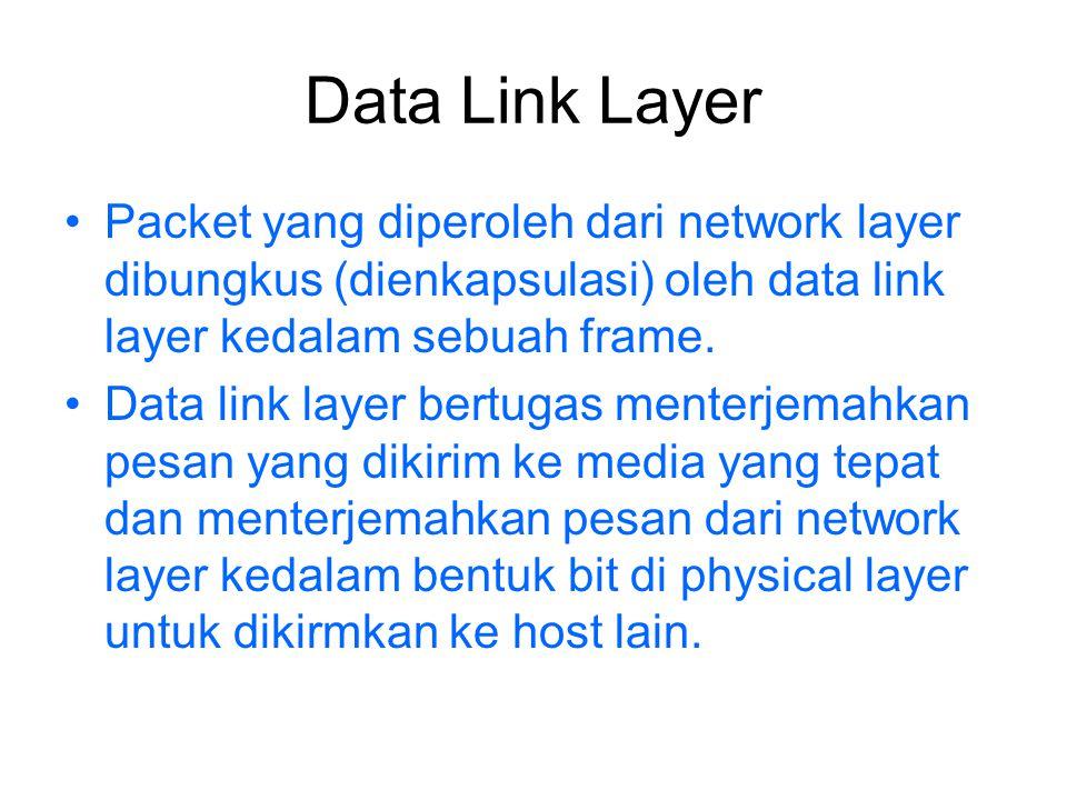 Data Link Layer Packet yang diperoleh dari network layer dibungkus (dienkapsulasi) oleh data link layer kedalam sebuah frame. Data link layer bertugas