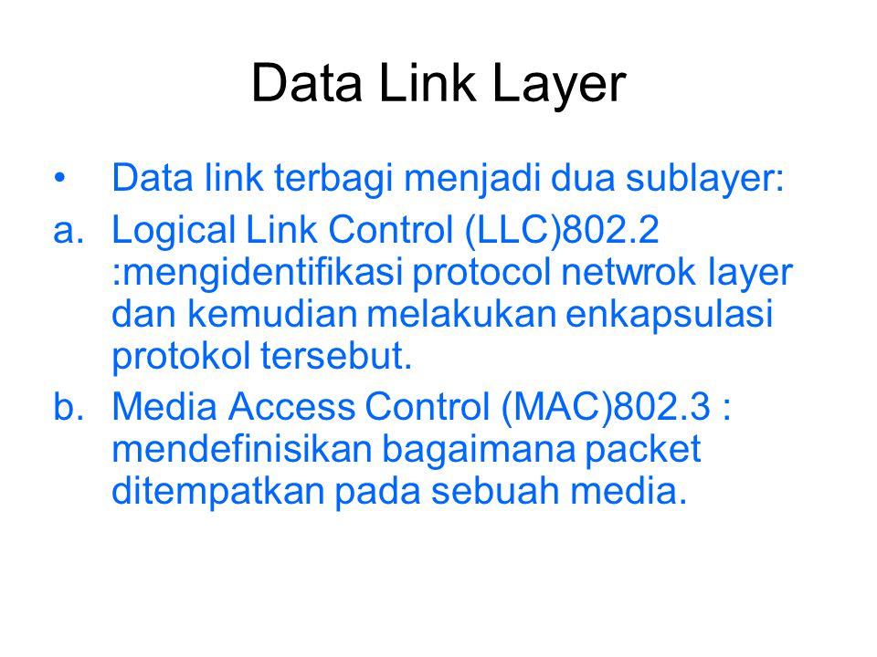 Data Link Layer Data link terbagi menjadi dua sublayer: a.Logical Link Control (LLC)802.2 :mengidentifikasi protocol netwrok layer dan kemudian melaku