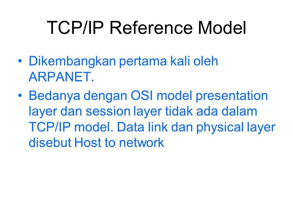 TCP/IP Reference Model Dikembangkan pertama kali oleh ARPANET. Bedanya dengan OSI model presentation layer dan session layer tidak ada dalam TCP/IP mo