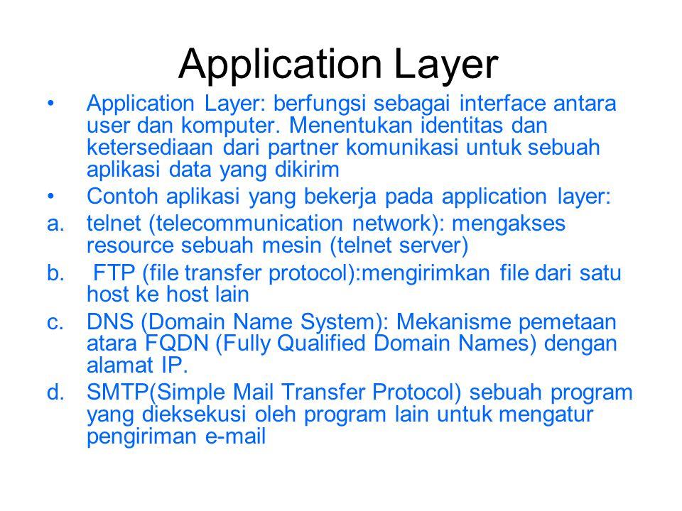 Presentation Layer Berfungsi untuk: a.Menyediakan sistem penyajian data ke application layer.