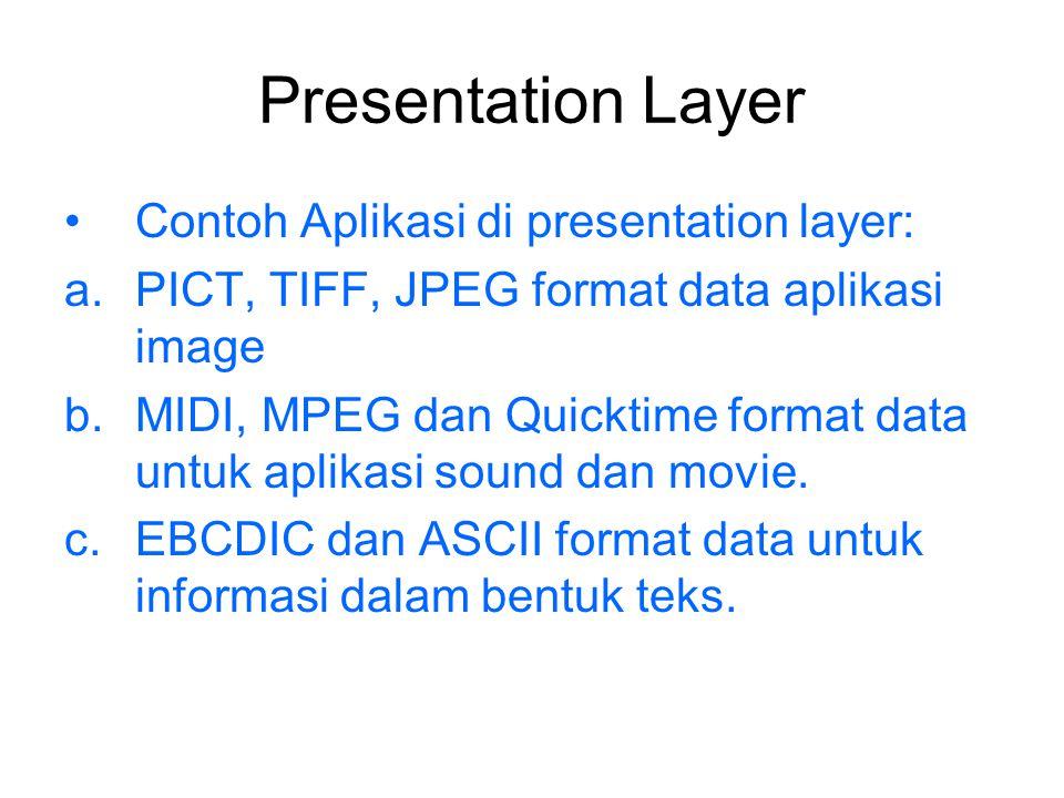 Session Layer Berfungsi dan bertanggungjawab: a.Mengkoordinasi jalannya komunikasi antar sistem b.Melakukan proses pembentukan, pengelolaan dan pemutusan session antar sistem aplikasi.