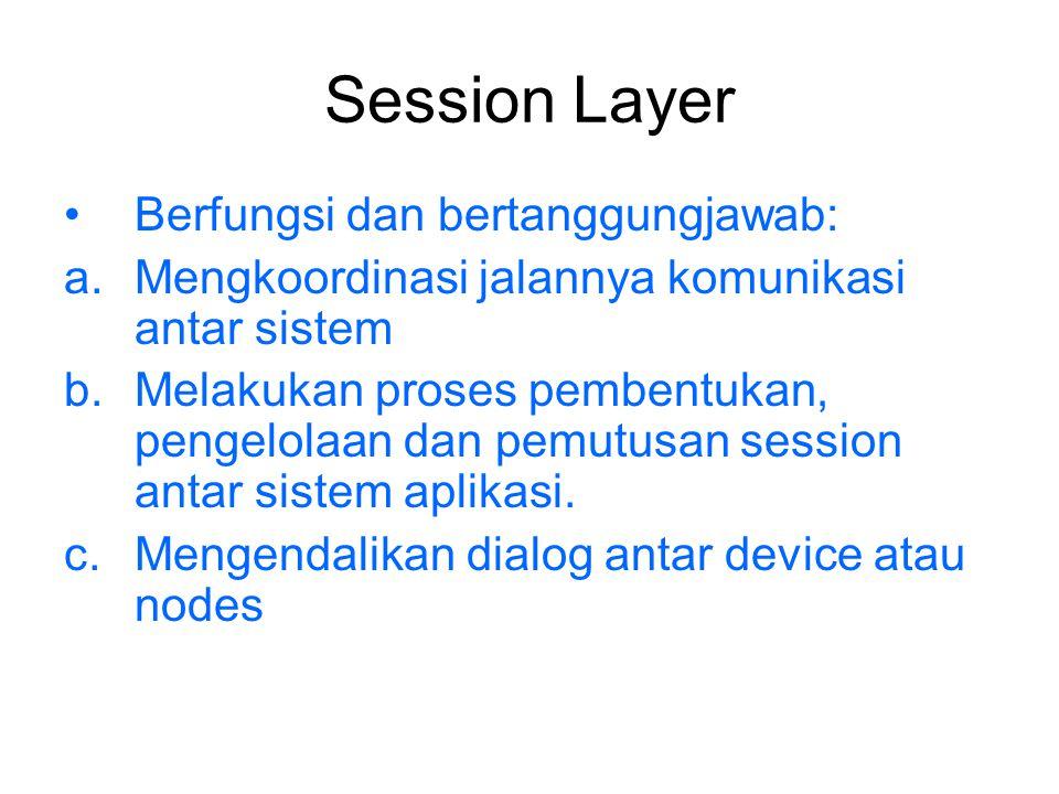 Session Layer Berfungsi dan bertanggungjawab: a.Mengkoordinasi jalannya komunikasi antar sistem b.Melakukan proses pembentukan, pengelolaan dan pemutu