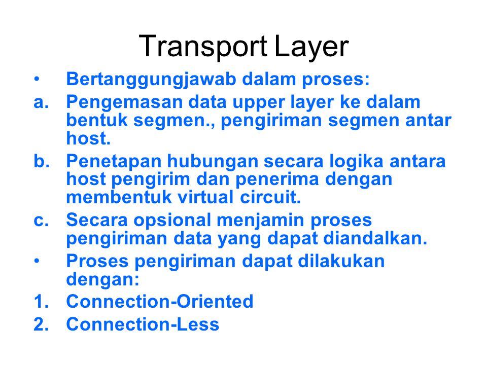 Transport Layer Bertanggungjawab dalam proses: a.Pengemasan data upper layer ke dalam bentuk segmen., pengiriman segmen antar host. b.Penetapan hubung