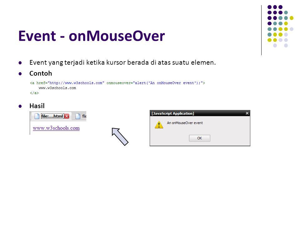 Event - onMouseOver Event yang terjadi ketika kursor berada di atas suatu elemen. Contoh Hasil