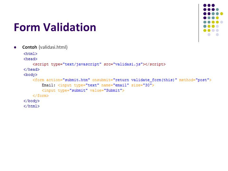 Form Validation Contoh (validasi.html)