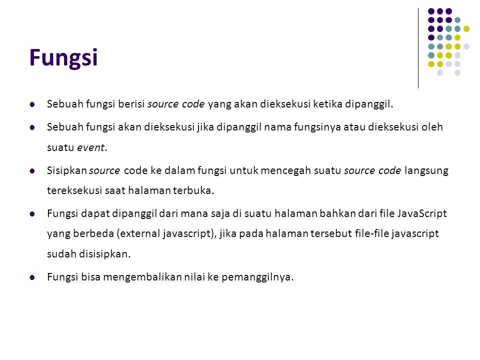 Fungsi Sebuah fungsi berisi source code yang akan dieksekusi ketika dipanggil. Sebuah fungsi akan dieksekusi jika dipanggil nama fungsinya atau diekse