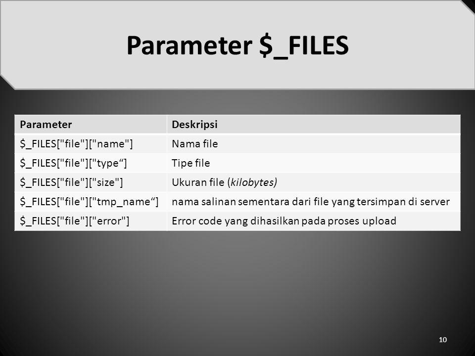 Parameter $_FILES 10 ParameterDeskripsi $_FILES[ file ][ name ]Nama file $_FILES[ file ][ type ]Tipe file $_FILES[ file ][ size ]Ukuran file (kilobytes) $_FILES[ file ][ tmp_name ]nama salinan sementara dari file yang tersimpan di server $_FILES[ file ][ error ]Error code yang dihasilkan pada proses upload