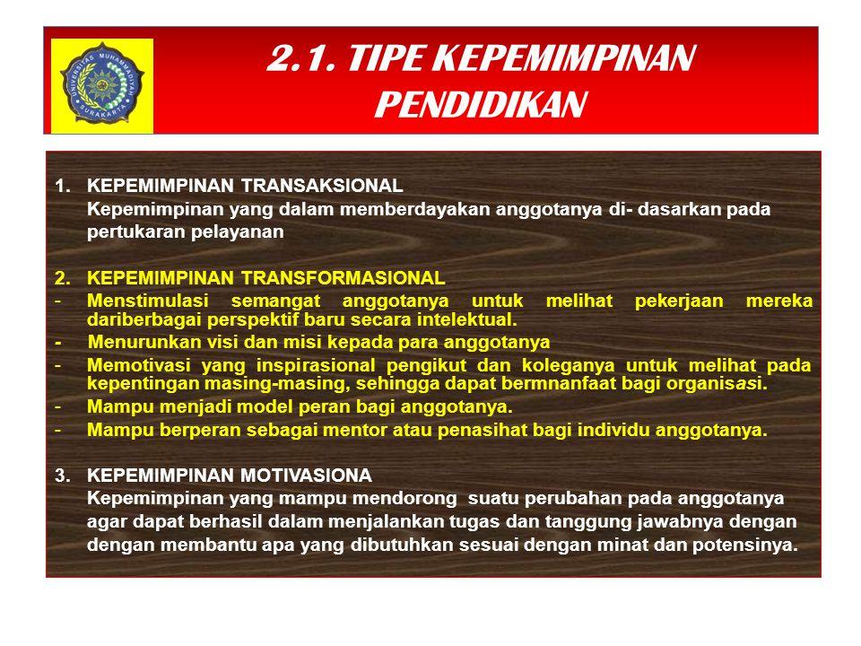2.1.TIPE KEPEMIMPINAN PENDIDIKAN 1.