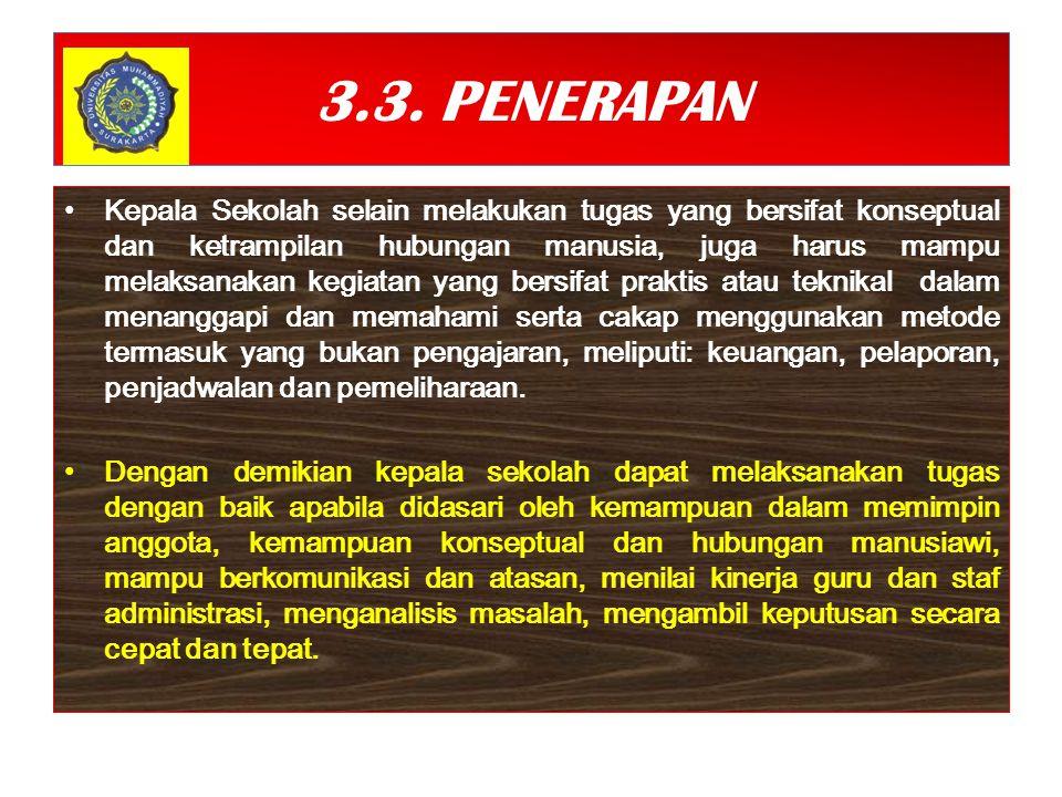 3.3. PENERAPAN Kepala Sekolah selain melakukan tugas yang bersifat konseptual dan ketrampilan hubungan manusia, juga harus mampu melaksanakan kegiatan