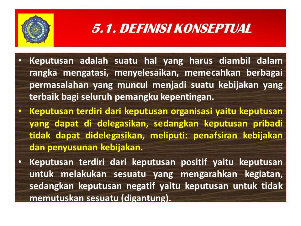 5.1. DEFINISI KONSEPTUAL Keputusan adalah suatu hal yang harus diambil dalam rangka mengatasi, menyelesaikan, memecahkan berbagai permasalahan yang mu