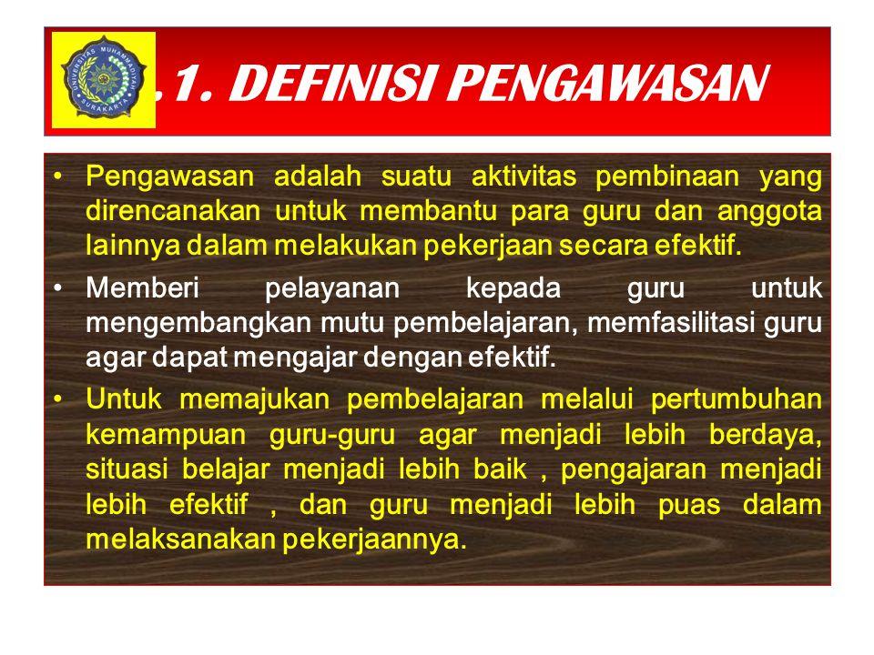 7.1. DEFINISI PENGAWASAN Pengawasan adalah suatu aktivitas pembinaan yang direncanakan untuk membantu para guru dan anggota lainnya dalam melakukan pe