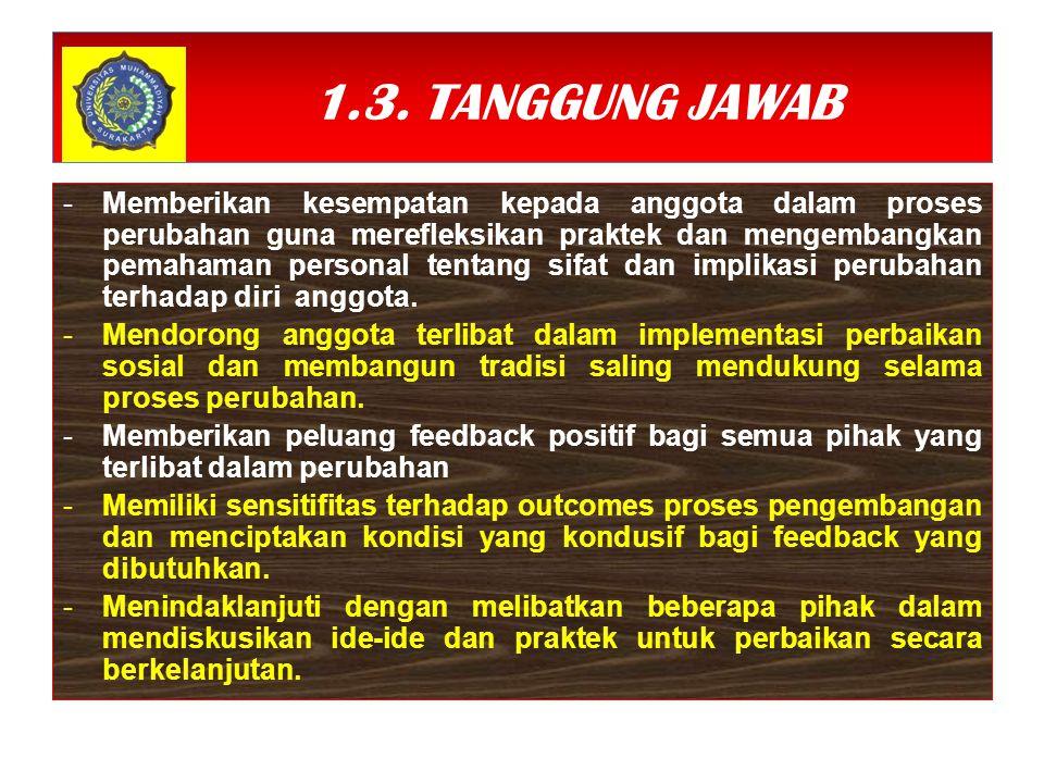 1.3. TANGGUNG JAWAB -Memberikan kesempatan kepada anggota dalam proses perubahan guna merefleksikan praktek dan mengembangkan pemahaman personal tenta