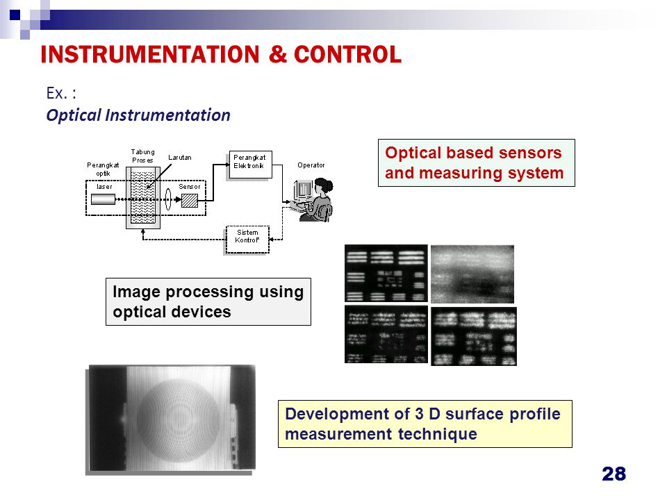 INSTRUMENTATION & CONTROL 28 Ex. : Optical Instrumentation Optical based sensors and measuring system Image processing using optical devices Developme