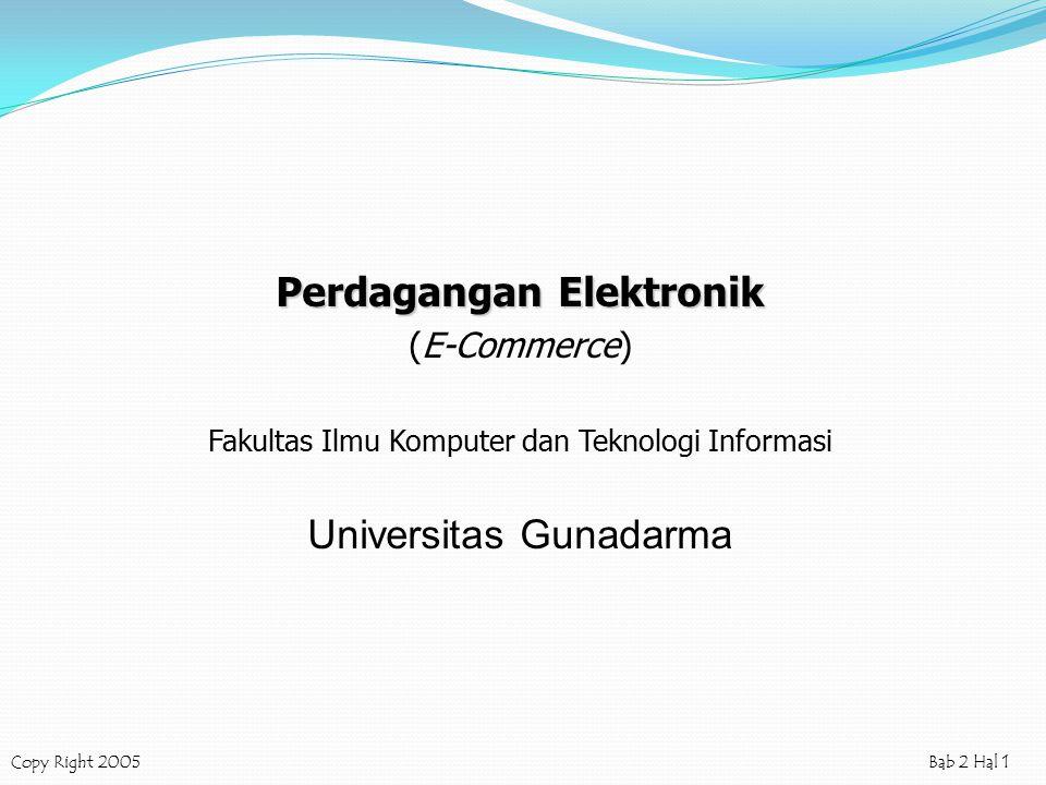 Copy Right 2005Bab 2 Hal 1 Perdagangan Elektronik (E-Commerce) Fakultas Ilmu Komputer dan Teknologi Informasi Universitas Gunadarma