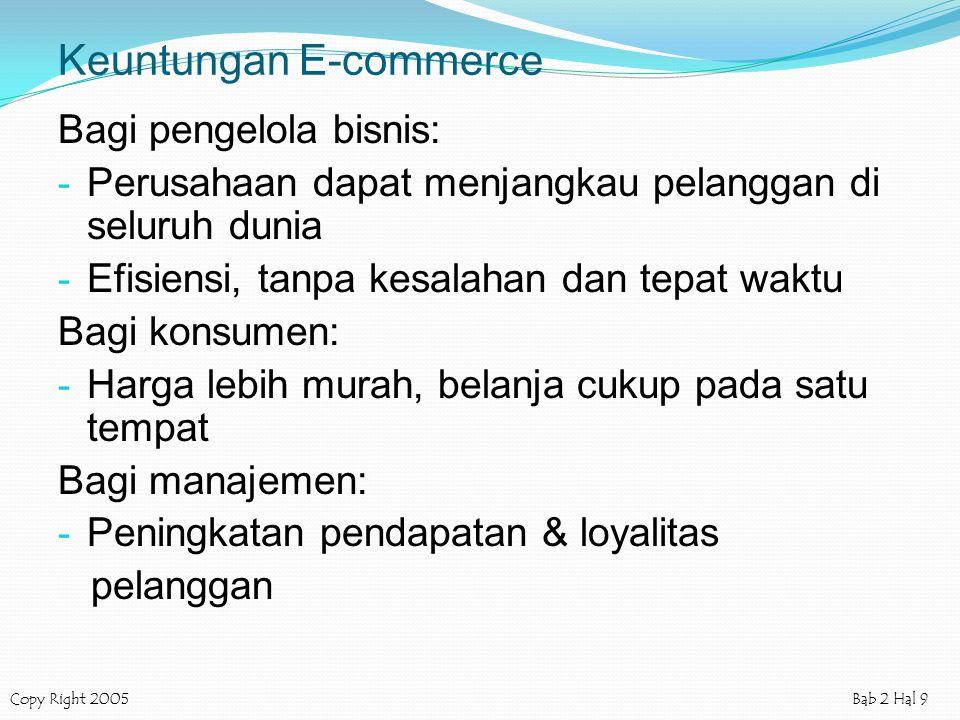 Copy Right 2005Bab 2 Hal 9 Keuntungan E-commerce Bagi pengelola bisnis: - Perusahaan dapat menjangkau pelanggan di seluruh dunia - Efisiensi, tanpa ke