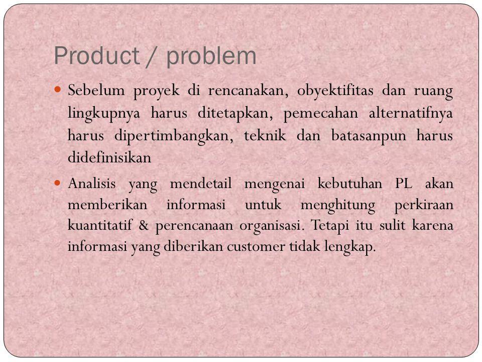 Product / problem Sebelum proyek di rencanakan, obyektifitas dan ruang lingkupnya harus ditetapkan, pemecahan alternatifnya harus dipertimbangkan, tek